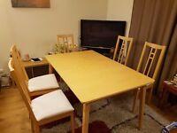 IKEA extending Beech effect Dining table & 5 Aron Chairs