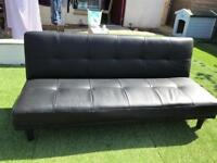 Black/dark brown leather sofa bed
