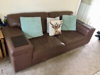 Brown Leather Sofa 3 and 2 seater large