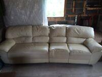 Large Cream Leather Recliner Sofa