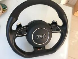 Audi Flat Bottom Steering Wheel with Airbag, RS3 S5 S5 A3 A5 A4 S4 RS4 RS6