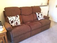 Gplan 3-seater sofa and chair in brown fabric