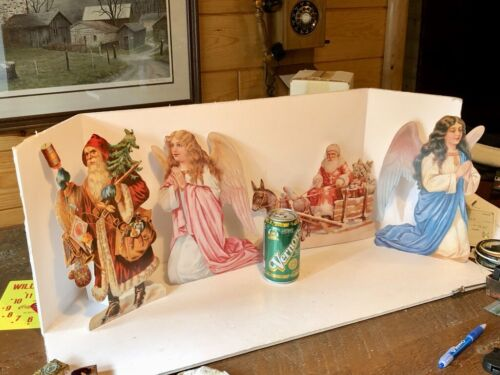 "4 + 2 Bonus Victorian Santa Claus & Angel Christmas Card Ornaments 11"" -  Repro"