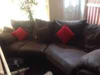 BROWN LEATHER EFFECT CORNER SOFA
