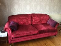 Beautiful Red Velvet Laura Ashley Sofa - Quick Sale / Reduced price