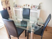 Glass Extendable Table With 4 Leather Chairs