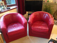 A Pair of Comfortable Red Leather Tub Seats with Removable Seats 50cmsx57cms