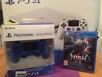 Sony PlayStation 4 bundle 500GB White console+ Nioh+ blue dualshock v2 controller BN&S
