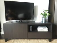 IKEA BESTA TV Bench / Cabinet / Unit - Black / Dark Brown with Drawer and Cupboard
