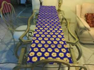Table Runner - Royal Blue with Large Gold Stamp Flower with Green
