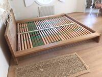European KING SIZE Designer E15 European Oak Bed frame, Excellent Condition