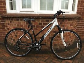 Womans carrera crossfire mountain bike. 21 gears, ss suntour suspension, lights already fitted.