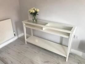 White side table with glass top side unit