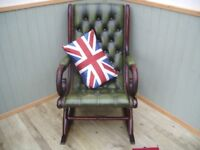 Stunning Green Leather Chesterfield Rocking Chair.