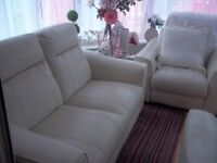 cream leather sofa and 2 chairs all recliners,