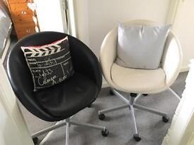 Office Chairs 1 Black. 1 White sell as a pair