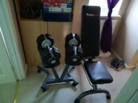 2.5~25kg selectable dumbbells stand and workout bench