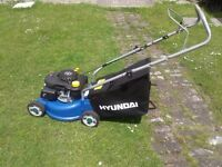 HYANDAI PETROL LAWNMOWER EASY START 99CC WITH GRASS BOX 16 INCH CUT LIGHT WEIGHT NON RUST BED