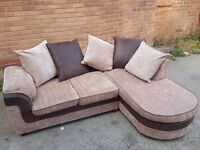Brown and beige corner sofa.Modern design with chase lounge.1 month old. Clean.Can deliver