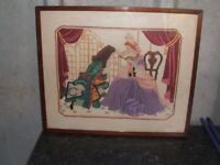 embroidery framed picture lady gent