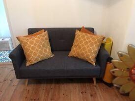Argos retro style grey sofas x2