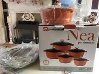 Brand new boxed set of die cast aluminium pans, ceramic coated, orange (set of 5)