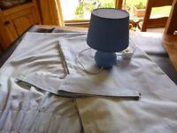 BOYS BEDROOM CURTAINS & LAMP COLOUR BLUE 66''X54'' - GOOD CLEAN CONDITION