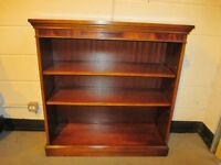 MAHOGANY OPEN BOOKCASE WITH TWO ADJUSTABLE SHELVES FREE DELIVERY