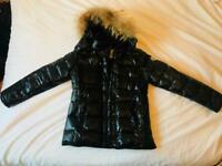 Women's Moncler Coat - Size 5 - Black With Fur