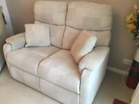 Beige Two Seater Sofa and One Electric Reclining Chair