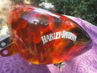 HARLEY DAVIDSON - SPORTSTER - CHOPPER - CUSTOM PAINTED FIRE TANK AND MUDGUARDS