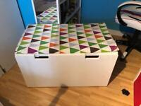 IKEA Bench with toy storage, white with mat