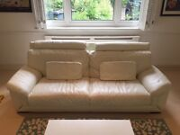 3 quality cream leather sofas in excellent condition