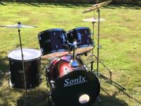 "SONIX 5-Piece 22""; Bass Beginner's Wine Red Acoustic Drum Kit w/ Cymbals"