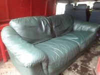 Bargain green leather sofa. FREE DELIVERY