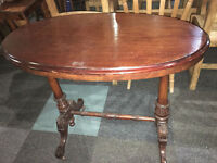 Nice Victorian Carved Solid Wood &Mahogany Veneer Console Side Hall Table
