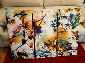 Triple Flower Canvas Wall Art