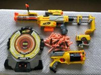 Nerf guns, target and accessories
