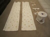 Pair of Nursery Little Stitch and Mr Hedgehog Cream Curtains