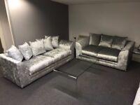 crushed velvet silver 3+2 seater footstool optional