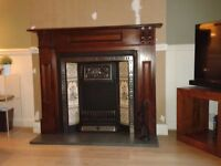 Fire Surround Cast Iron and Wood with Green Granite Hearth