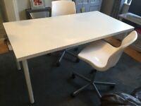 Desk & 2 swivel chairs