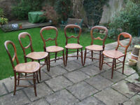 A set of 6 lovely Victorian beech 'balloon back' Chairs with cane seats