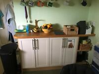 Kitchen cabinets, fridge freezer and dishwasher for sale