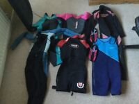 Wetsuits x 6 + shoes Adult /Child