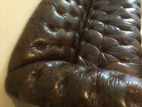 Smart brown leather 3-seater Chesterfield couch