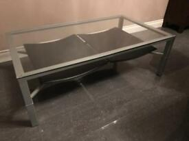 Glass, Metal & Leather coffee table - v.good condition (120cm L x 70cm D x 40cm H)
