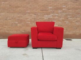 Red Chenille DFS Armchair & Footstool