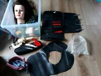 Hairdressing kit with head and clamp ect + NVQ2 book