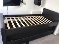 Black Brown/black faux leather single bed with pull out guest bed